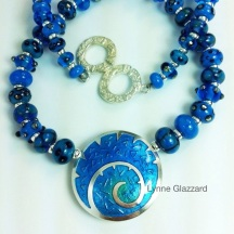 Blue spiral bead necklace