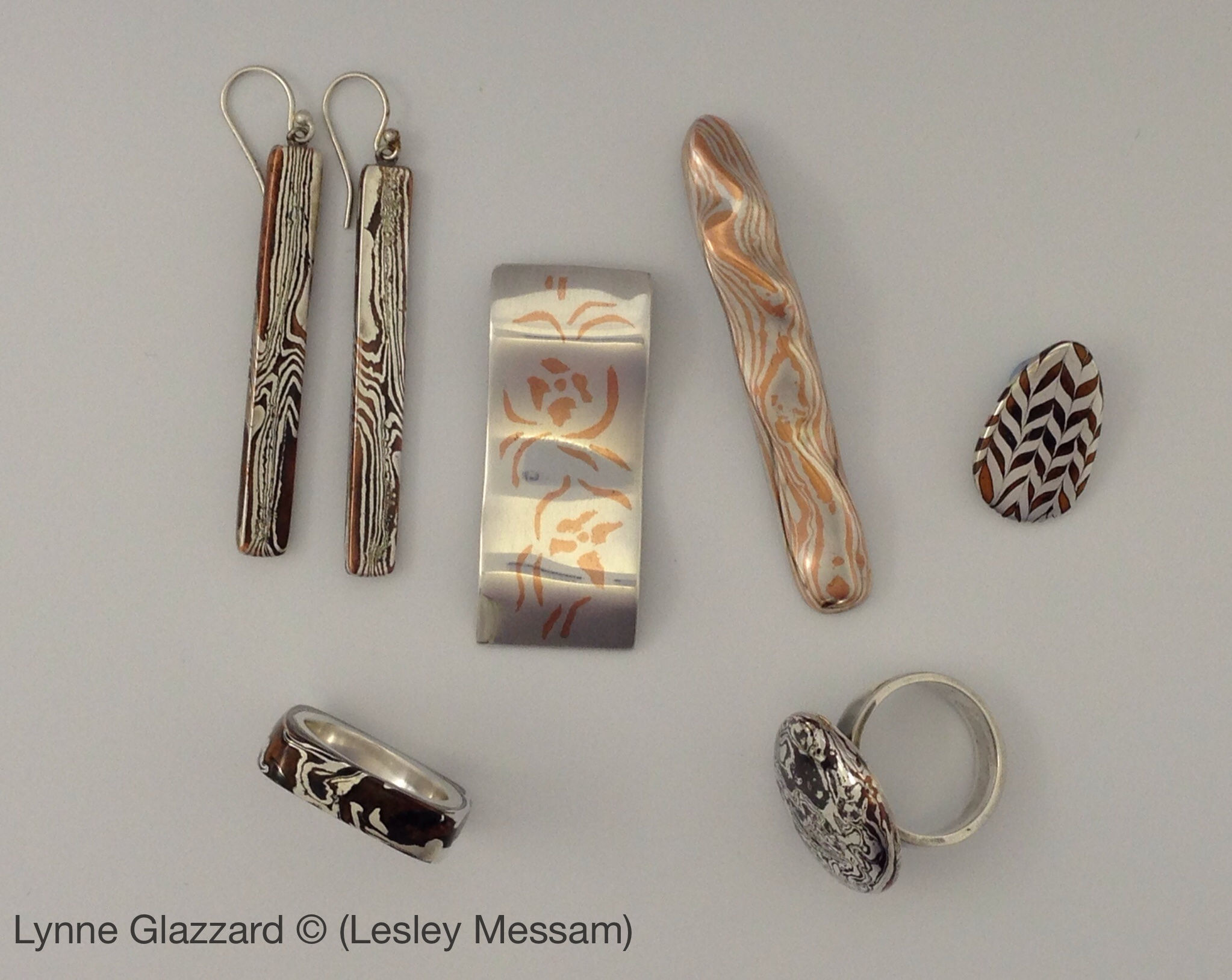 New mokume gane certification metal clay north pendant in silver with copper inlay zougan 2 brooch with wood grain guri bori 3 pendant or earrings with cross technique jyumonji aloadofball Gallery